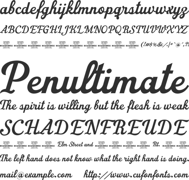 San Andreas PERSONAL USE ONLY font preview