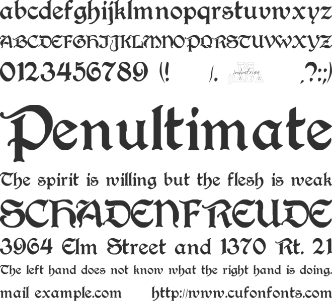 Perry Gothic font preview