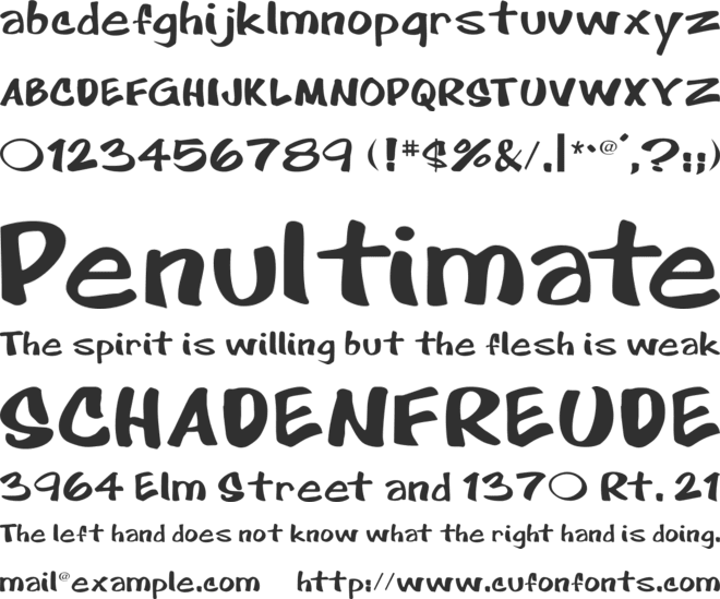 Cartoon font preview