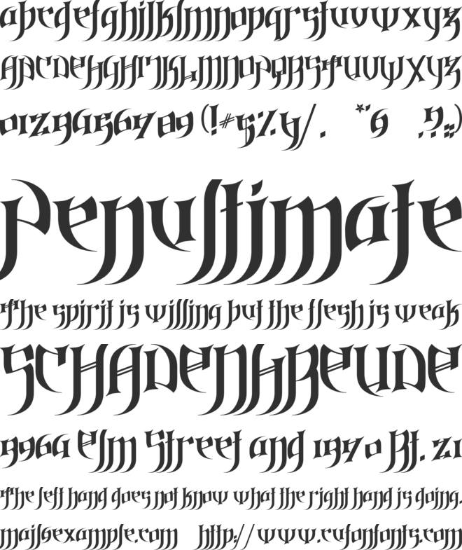 Gothic Love Letters font preview