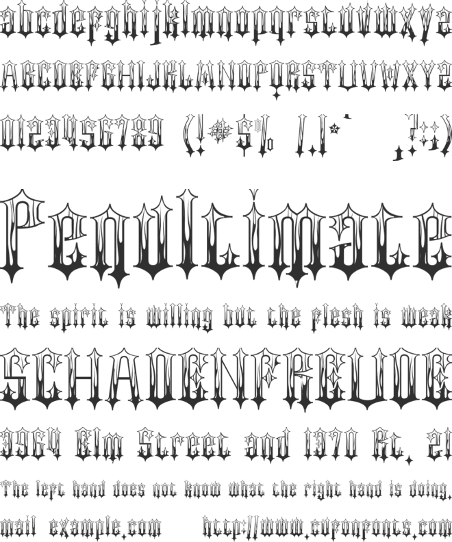 Gothic Flames font preview