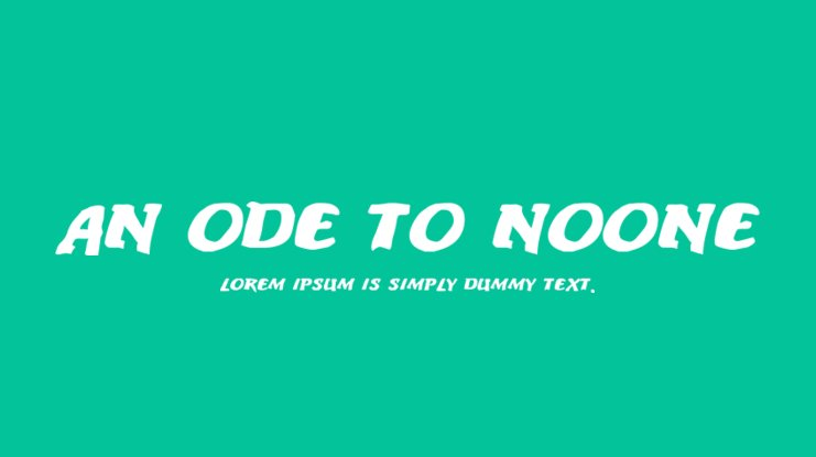 An ode to noone Font