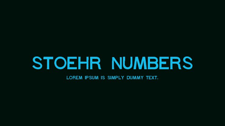 Stoehr numbers Font