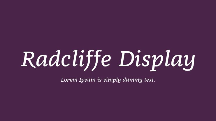Radcliffe Display Font Family