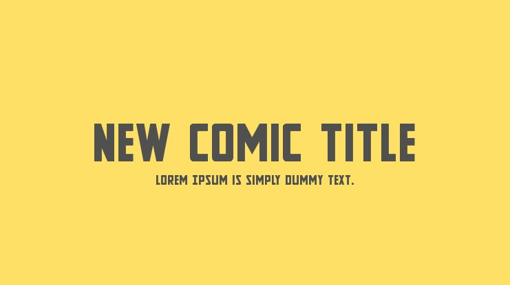 New Comic Title Font Family