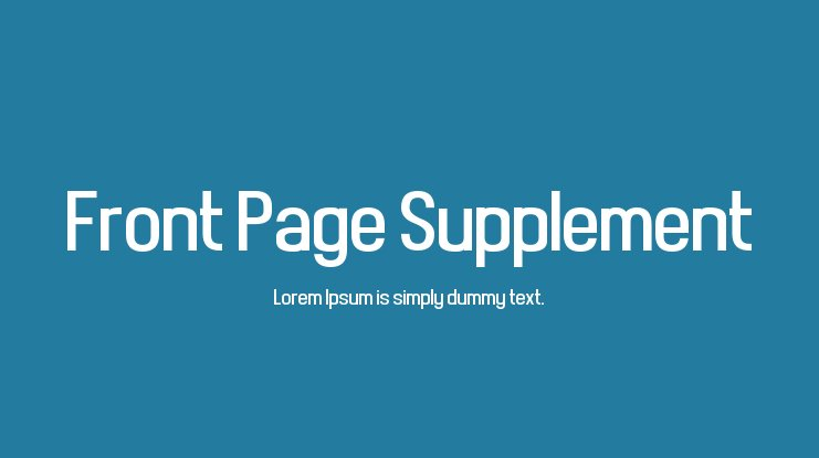 Front Page Supplement Font