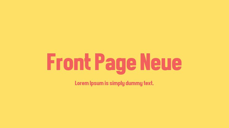Front Page Neue Font