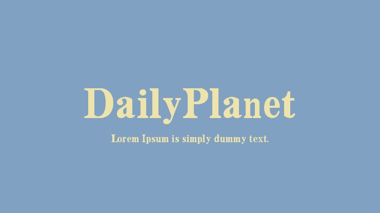 DailyPlanet Font Family