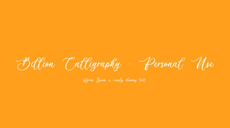 Billion Calligraphy - Personal Use Font