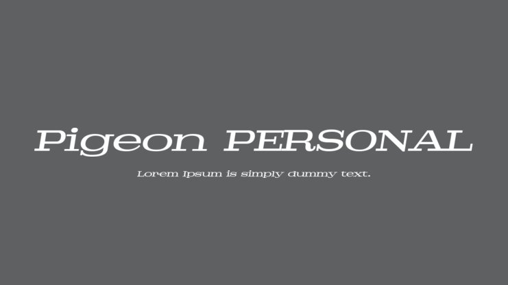 Pigeon PERSONAL Font Family