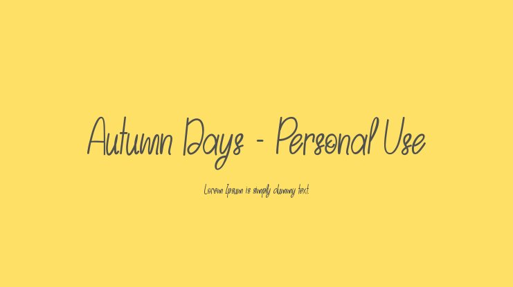 Autumn Days - Personal Use Font Family
