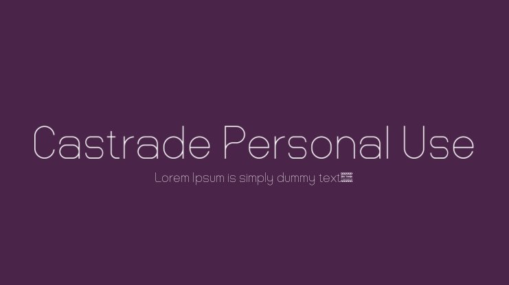 Castrade Personal Use Font