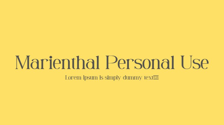 Marienthal Personal Use Font