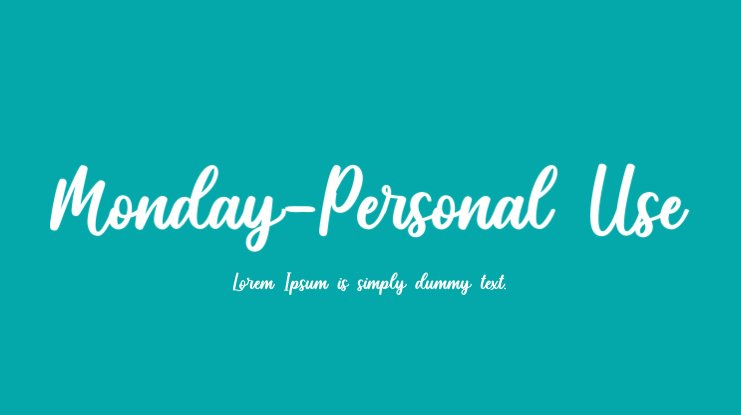 Monday-Personal Use Font
