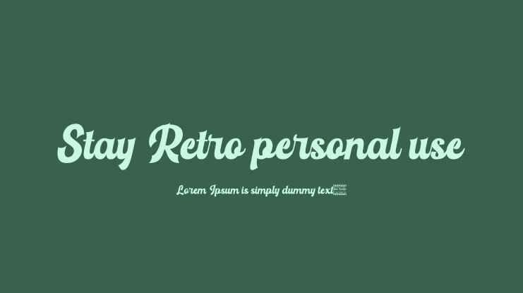 Stay Retro personal use Font