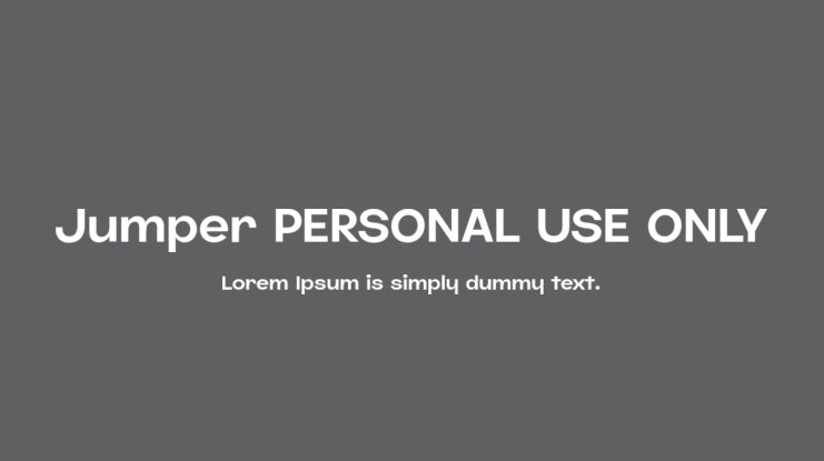 Jumper PERSONAL USE ONLY Font Family